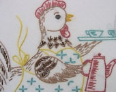 Vintage Hand-Embroidery Pattern, Digital Download PDF, VP103 Poultry Diner