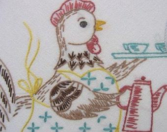 Vintage Hand-Embroidery Pattern, Digital Download PDF, VP103 Poultry Diner