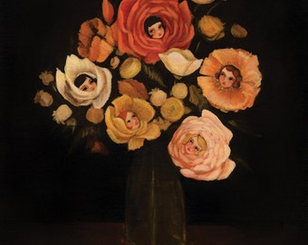Still Life with Live Flowers Print 11x14