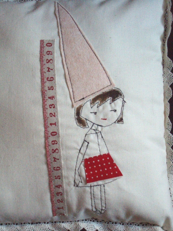 Duncie Girlie Embroidered Pillow