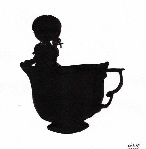 Teacup Girl and Birds Nest Silhouette Print Pair