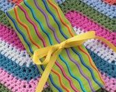 Crochet Hook Roll Up Organizer - Green Rainbow