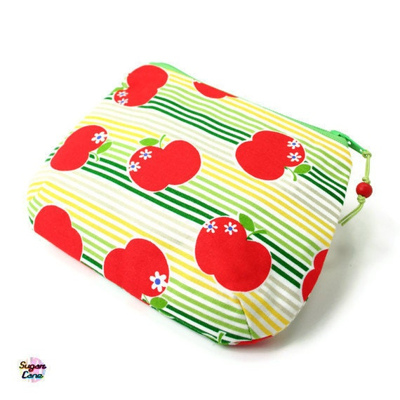 SALE SALE SALE Puff Pouch Coin Purse - Go Go Faster Apples