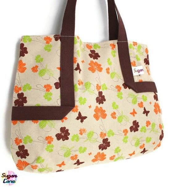 CLEARANCE SALE : Reusable Eco Shopper Plus  - Flowers & Butterflies Tote Bag