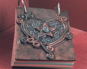 My Blue Heart  Small Polymer Clay notebook by JLVS