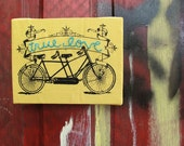true love : embroidered screenprint tandem bicycle wall hanging
