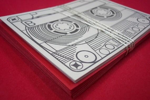 mix tape- screenprinted stationery set