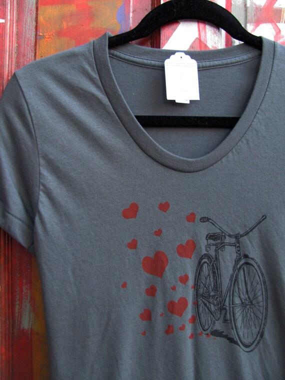 bikehearts on charcoal grey - lady sized screenprinted t-shirt