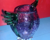 Winged Hand Blown Glass Vase