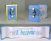I BECOME BOOKLACE - - A tiny accordion book necklace with a handwritten calligraphy quotation - Can personalize for you