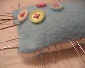 Blue and white polka dot pin cushion