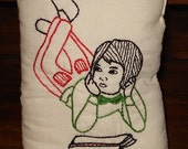 Reading Girl Pillow - Hand Embroidered, Retro Look