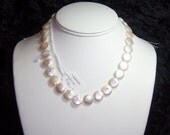 12mm White Freshwater Coin Pearls - 15 inches