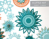 Sunset Flowers Collection - SVG, DXF, PDF cutting files