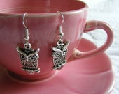 silver retro owl earrings -- gift packaged -- last pair of this style in stock