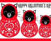 happy valentine's day catryoshka cat matryoshka family blank card