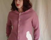 RESERVED Dusky pink and fawn owl cardigan hoodie