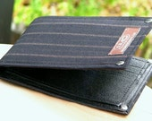 Men's Leather Billfold Wallet - Metro Man Bifold - Brown and Beige Stripes on Black Wool