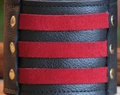 Unisex Leather Wrist Wallet Cuff with Secret Pocket - On-the-Go -- Militant Band Leader Wristband - Red Suede