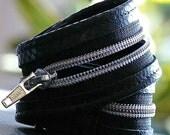 Rochelle Dual Purpose Leather Wrist Cuff Choker -- Black Leather