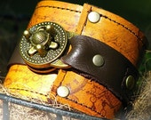 Steampunk Leather Wrist Wallet Cuff with Secret Pocket  for Women - Timeless Romance