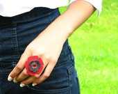 AMO Leather Bling Ring - - Red and Black Perforated Flower