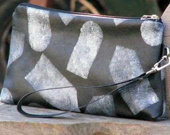 Women's Leather Wristlet Pouch - Lolita -  Silver Tags on Black