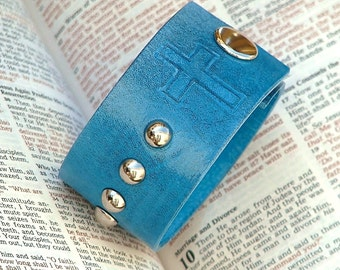 CARA Leather Catholic Rosary Confirmation Snap Bracelet Cuff   - Peacok Blue