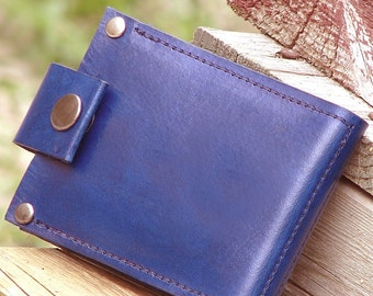 Men's Leather Billfold Wallet - Slim Jim Money Clip - Eco Blue