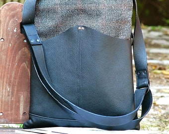 Women's Black, Brown Plaid Leather and Wool Crossbody Messenger Bag