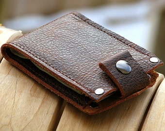 Men's Leather Wallet - Slim Jim Bifold Money Clip --- Speckled Brown