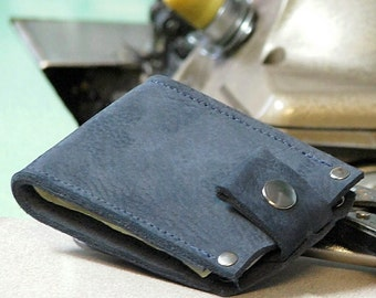 Mens leather Money Clip billfold Snap Wallet - Slim Jim -- Nubuck Blue