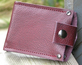 Men's Wallet - Leather Money Clip - Slim Jim - Oxblood
