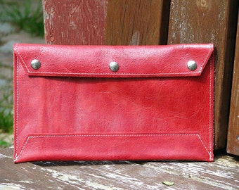 Red Leather Envelope Document Holder Clutch - Purse