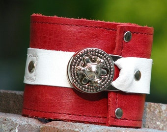 Steampunk Unisex Red and White Leather Wrist Wallet Cuff with Secret Pocket for women and men  with Silver Hardware