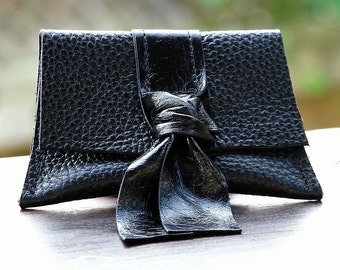 Black Leather Coin Purse Wallet for Women - Black Patent