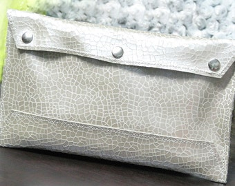 Leather Envelope Document Holder Clutch - Purse - Iced Cream Mosaic Suede