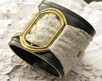 Women's Romantic Gothic Lolita Leather Wrist Wallet Cuff with Secret Pocket - Limited Edition Leather and Lace Wristband