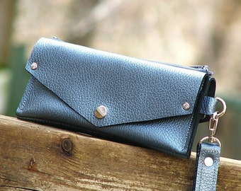 Women's Grab-N-Go Leather Wallet Wristlet with Zippered Coin Purse - Pearl Blue