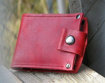 Men's Leather Snap Wallet - Slim Jim Bifold Money Clip --- Caliente Red