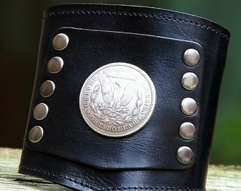 Prospect -- The Biker's Wrist Wallet Cuff with Secret Pocket  - -  Silver Morgan Dollar on Black Wristband