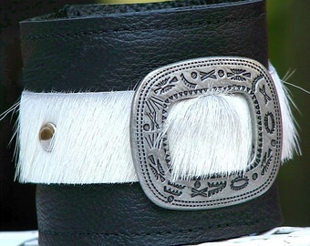 Leather Wrist Wallet Cuff for Man or Woman - The Maverick Wristband with Secret Pocket -- Limited Edition No. 4 -- White Hair-on Cow Hide