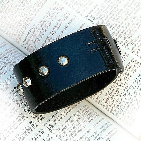 CARA Leather Catholic Rosary Cuff   - Blue Black