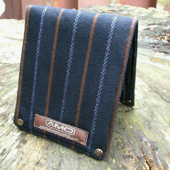 Mens Leather Billfold Wallet - Metro Man Bifold - Blue and Rust Stripes on Blue Wool