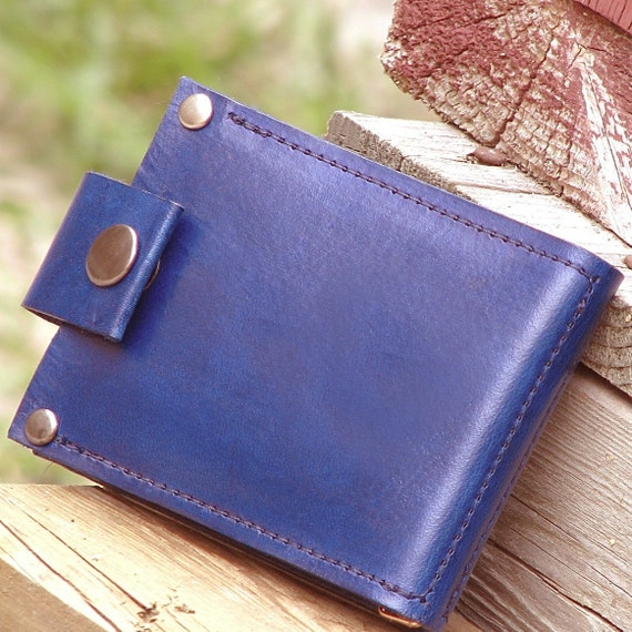 Men's Leather Billfold Wallet - Slim Jim Money Clip - Eco Blue