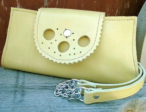Leather Wristlet Wallet Clutch for Women - Chartreusse