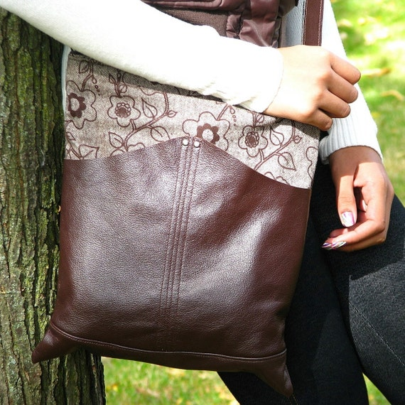 Women's Purse - Leather and Tweed Convertible Messenger Bag - Nicoletta -- Espresso Brown