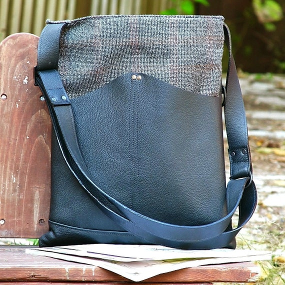 Women's Leather and Wool Convertible Messenger Bag - Nicoletta - Black, Brown Plaid