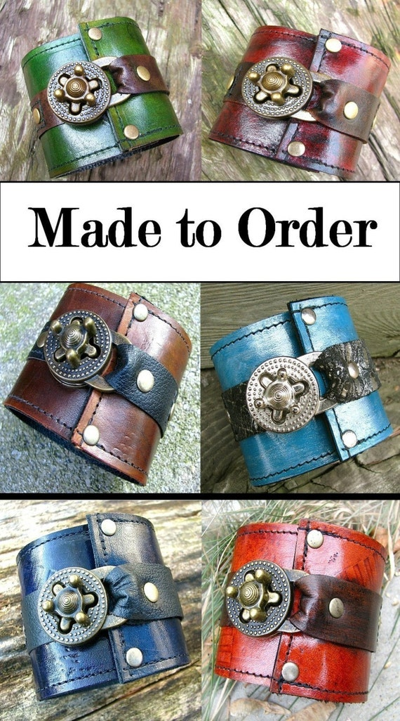Steampunk Unisex Leather Wrist Wallet Cuff with Secret Pocket -- MADE to ORDER Wristband