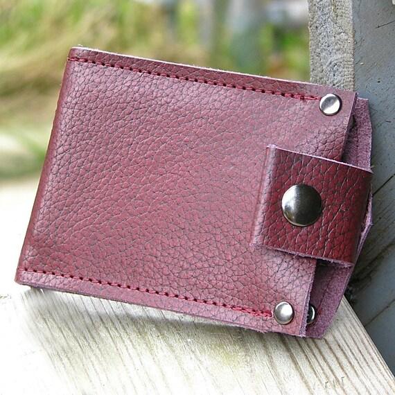 Oxblood Leather Snap Wallet for Men, Billfold, Moneyclip, portefeuille homme